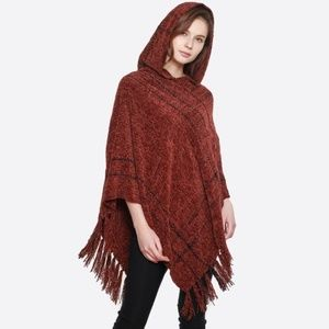 Soft hooded chenille poncho with fringe